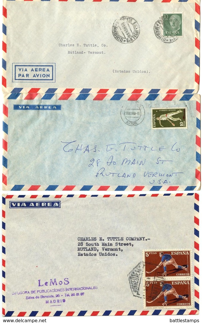 Spain 1950's-60's 3 Airmail Cover Madrid To Rutland, Vermont - 1951-60 Cartas
