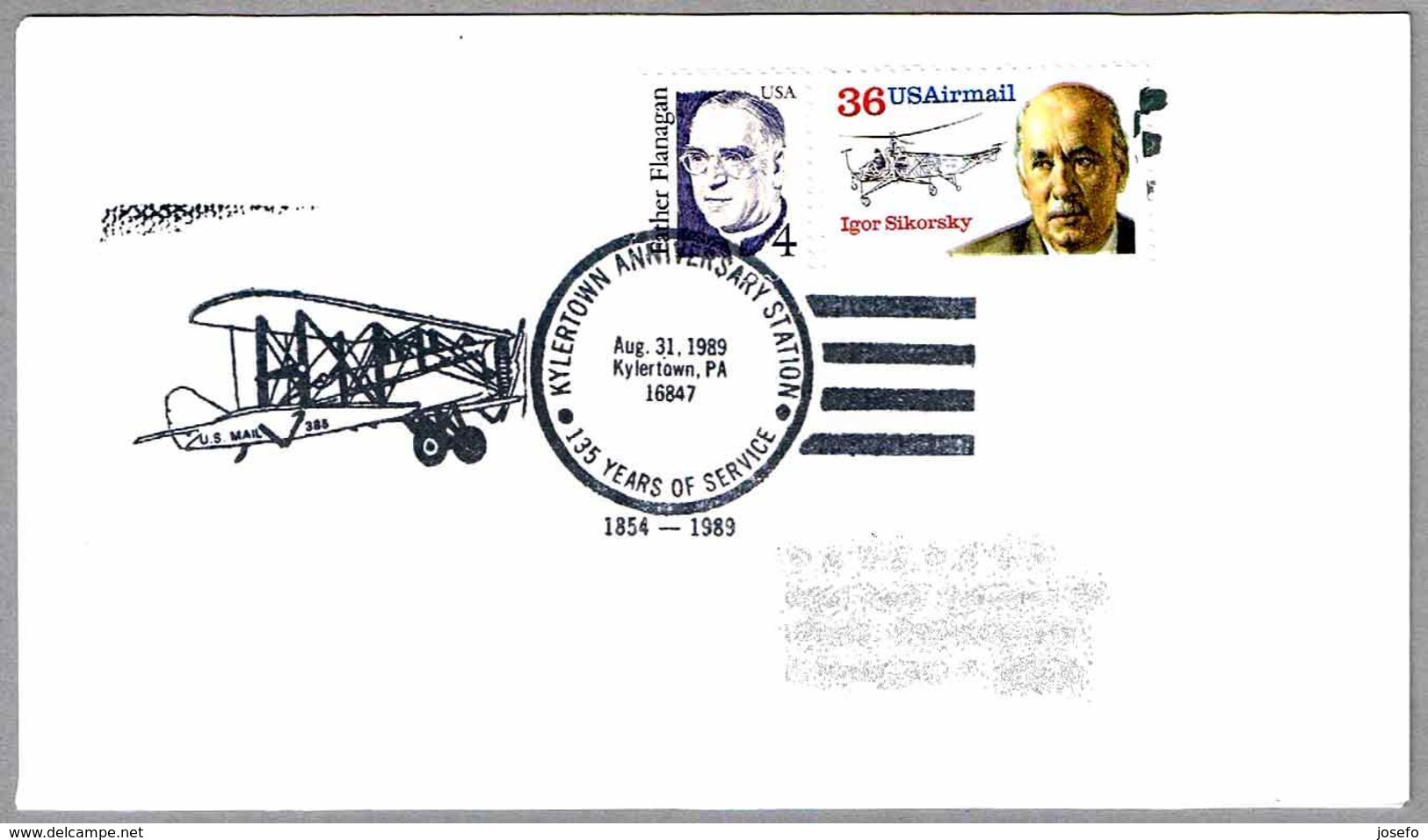 KYLERTOWN ANNIVERSARY - 135 YEARS OF SERVICE - U.S.MAIL. Kylertown PA 1989 - Correo Postal