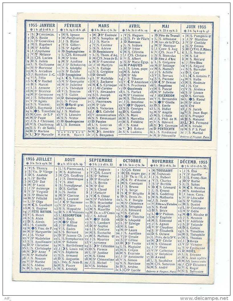 PETIT CALENDRIER 1955 PUB PUBLICITAIRE MOULLEAU, AGENCE CAPDEVIELLE, BOULEVARD COTE D'ARGENT, GIRONDE 33 - Calendriers