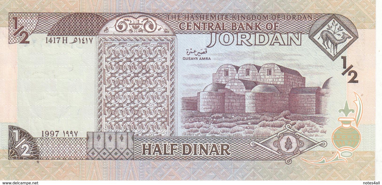 JORDAN 1/2 DINAR 1997 P-28b SIG/21 UNC KING HUSSAIN LOT X5 UNC NOTES */* - Jordanie