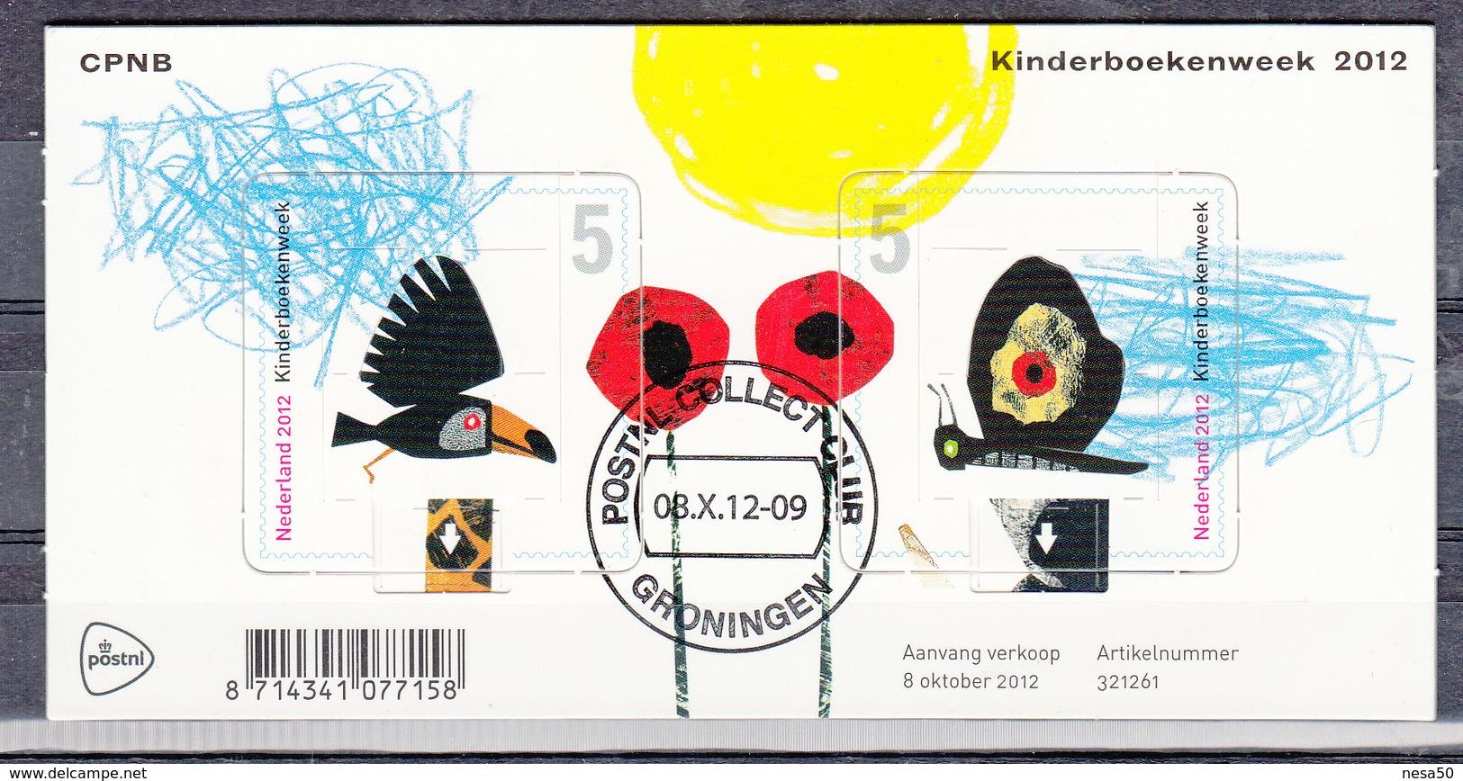 """Nederland 2012 Nvph Nr 2999 , Mi Nr Blok 154 Kinderboekenweek Blok Met 2 Pop-up Zegels Van De Waarde """"5"""" Gestempeld - Period 1980-... (Beatrix)"""