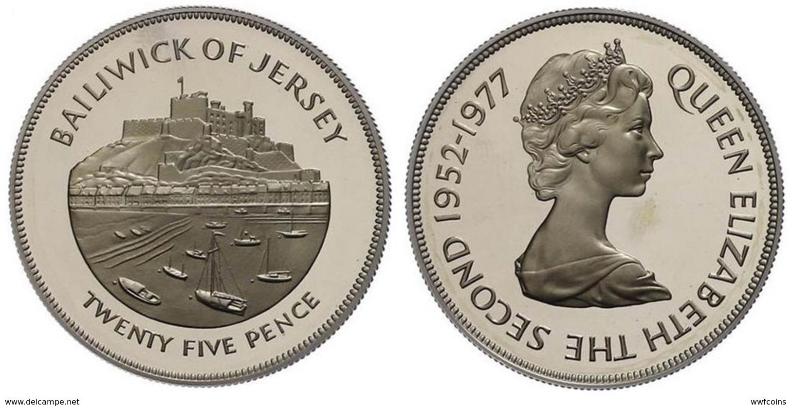JERSEY 25 P 1977 ARGENTO PROOF SILVER GUERNSEY CASTLE CORNET PORT PESO 28,28g TITOLO 0,925 CONSERVAZIONE FONDO SPECCHIO - Jersey