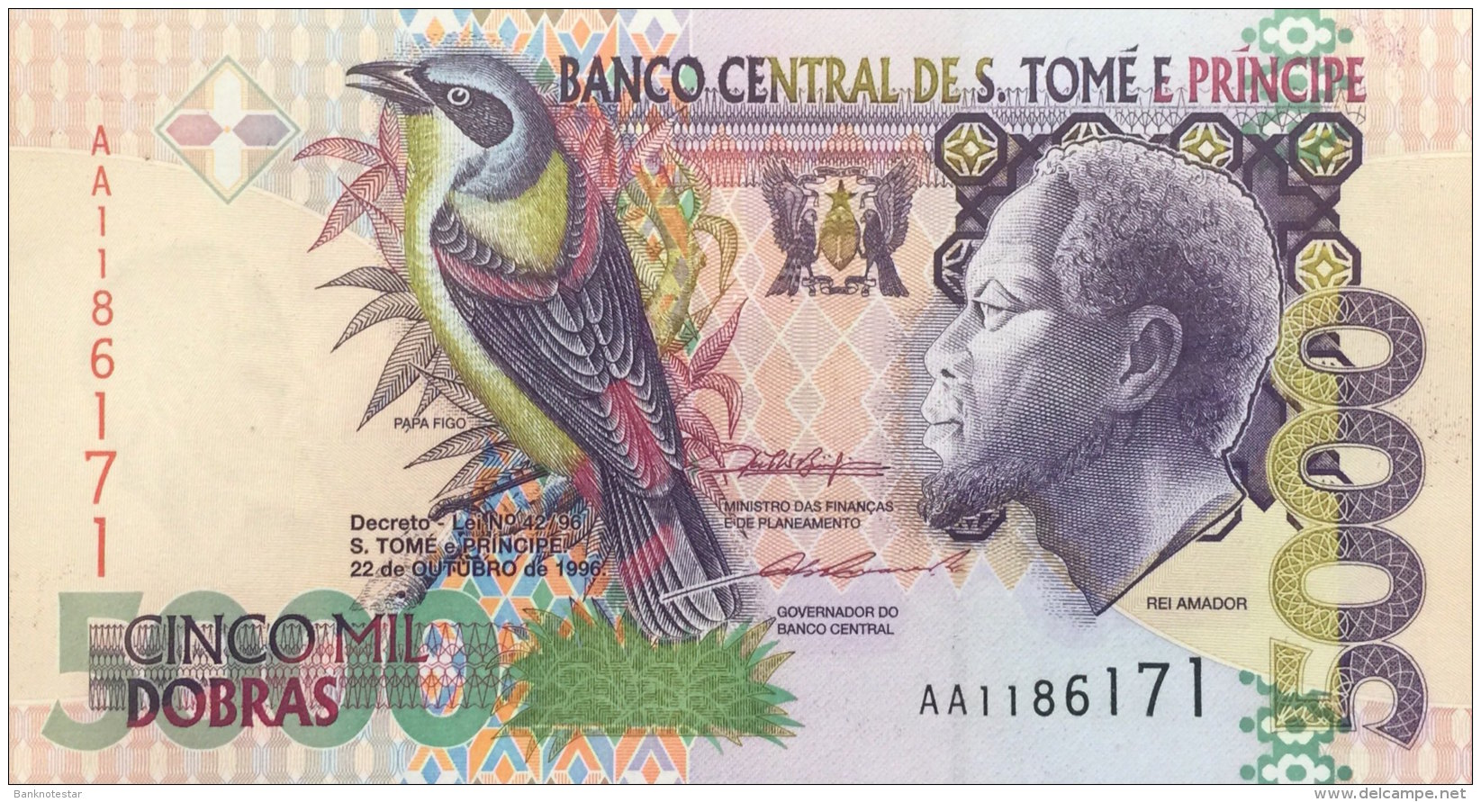 St. Thomas 5.000 Dobras, P-65a (1996) 1 Security Thread Version UNC - São Tomé U. Príncipe