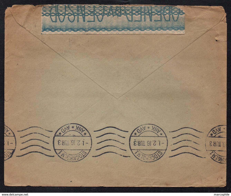 EGYPTE - EGYPT - CAIRO / 1916 LETTRE CENSUREE POUR LA SUEDE - STOCKHOLM (ref 7742) - Égypte