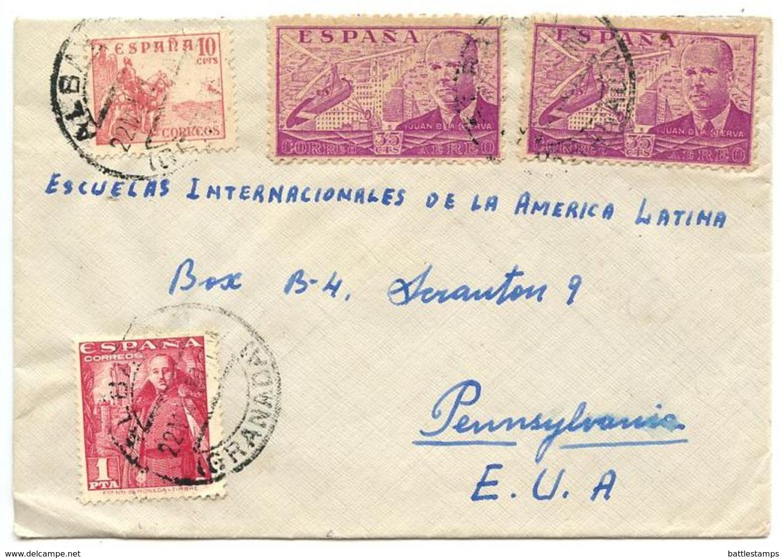 Spain 1950 Airmail Cover Albayzín, Granada To Scranton, PA W/ Scott 665b & C111 X 2 - 1931-50 Cartas