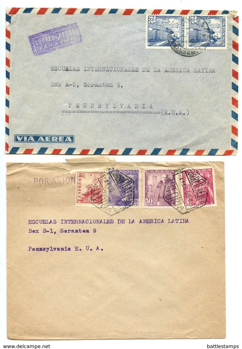 Spain 1949-50 9 Covers To U.S., Variety Of Stamps & Postmarks - 1931-50 Cartas