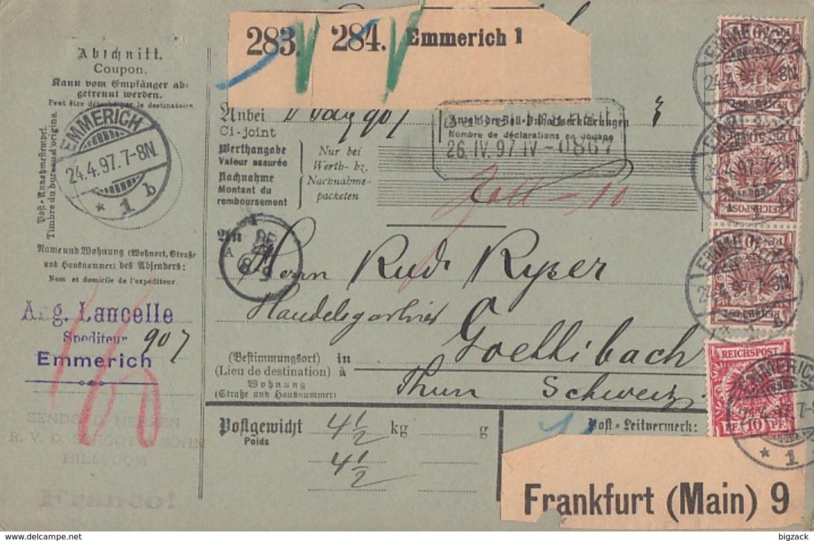 DR Paketkarte Für 2 Pakete Mif Minr.47, 3x 50 Emmerich 24.4.97 Gel. In Schweiz - Briefe U. Dokumente