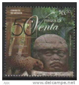 Le Jaguar (Panthera Onca) & Tete Sculpturale D'un Olmec. (Parque Museo La Venta) Villahermosa.  Un T-p Neuf **  2008 - Mexique
