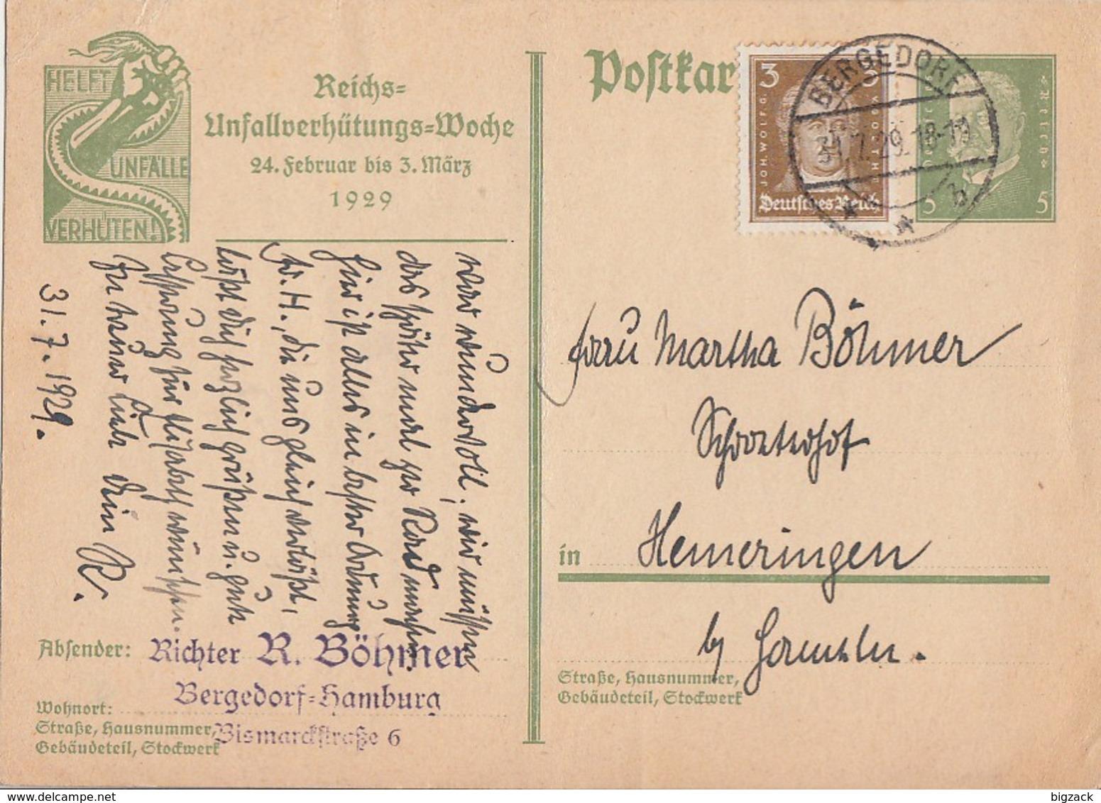 DR Ganzsache Minr.P186 Zfr. Minr.386 Bergedorf 31.7.29 - Deutschland
