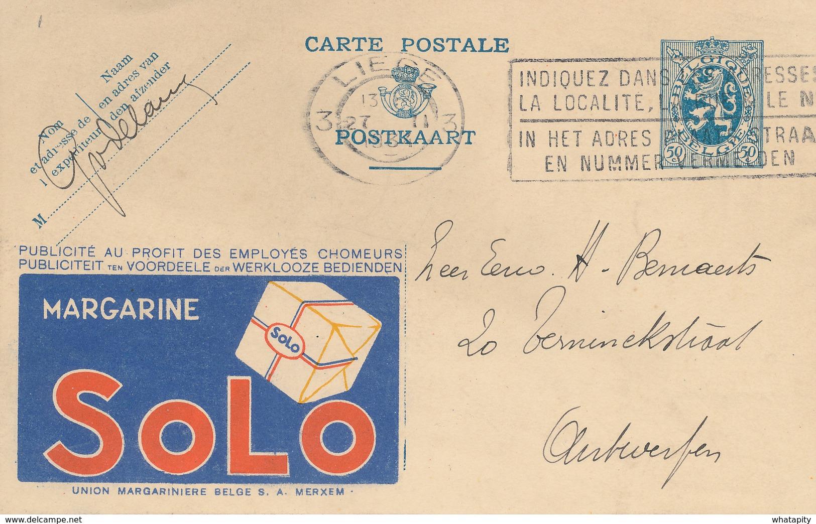 ZZ907 - Entier Postal Publibel Margarine SOLO à MERXEM - Lion Héraldique 50 C - LIEGE 1934 - Enteros Postales
