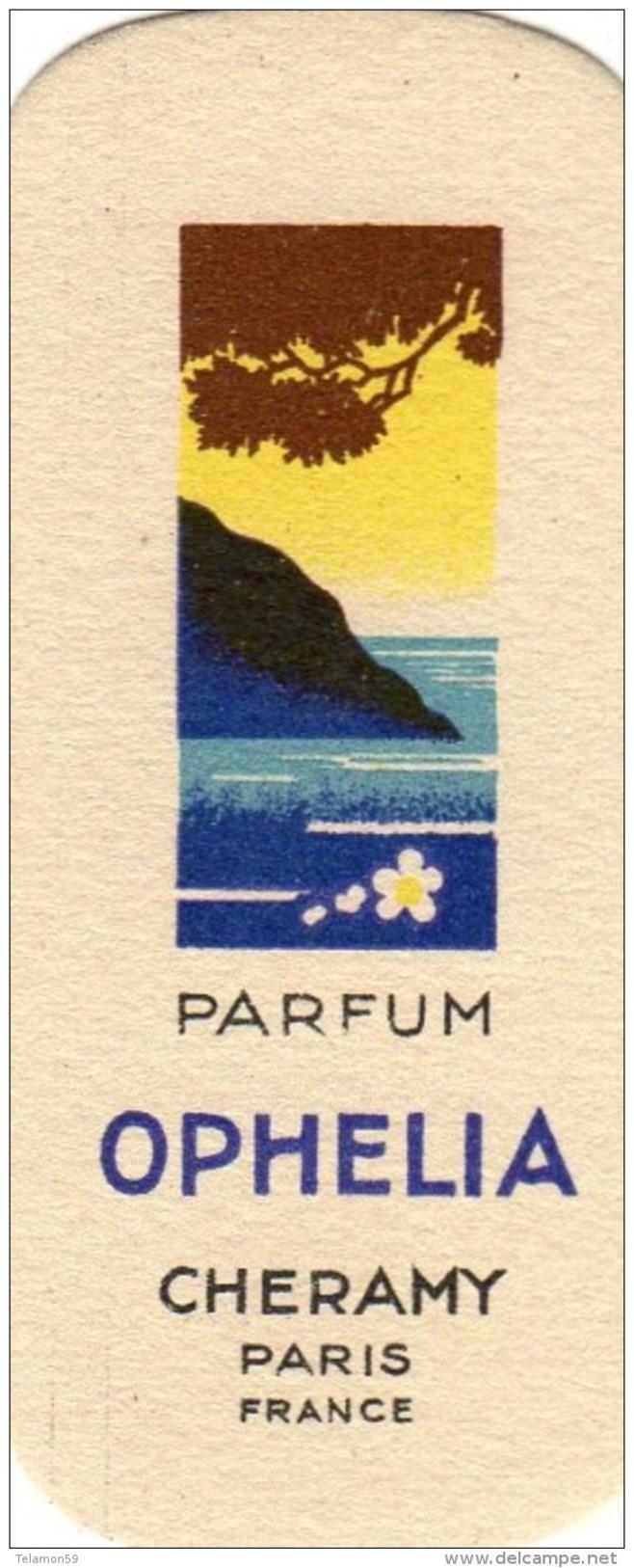 CARTE PARFUM OPHELIA ANCIENNE CHERAMY PARIS - Perfume Cards