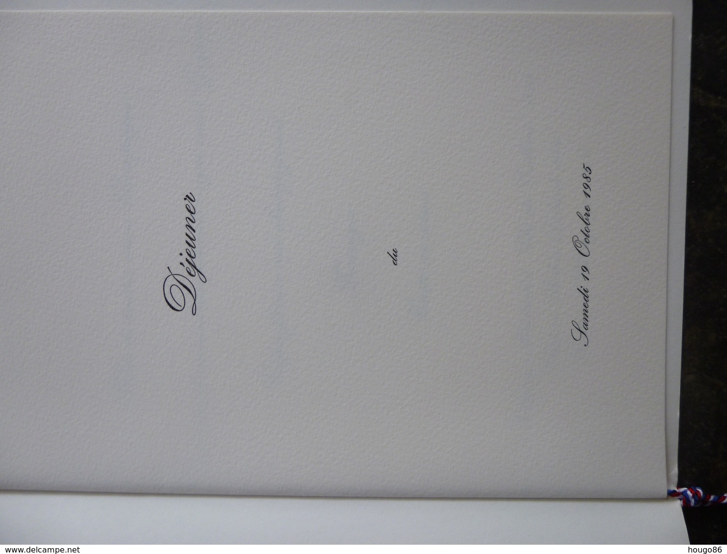 Menu, Résidence De France, Bogota, 19 Oct. 1985 - Menus