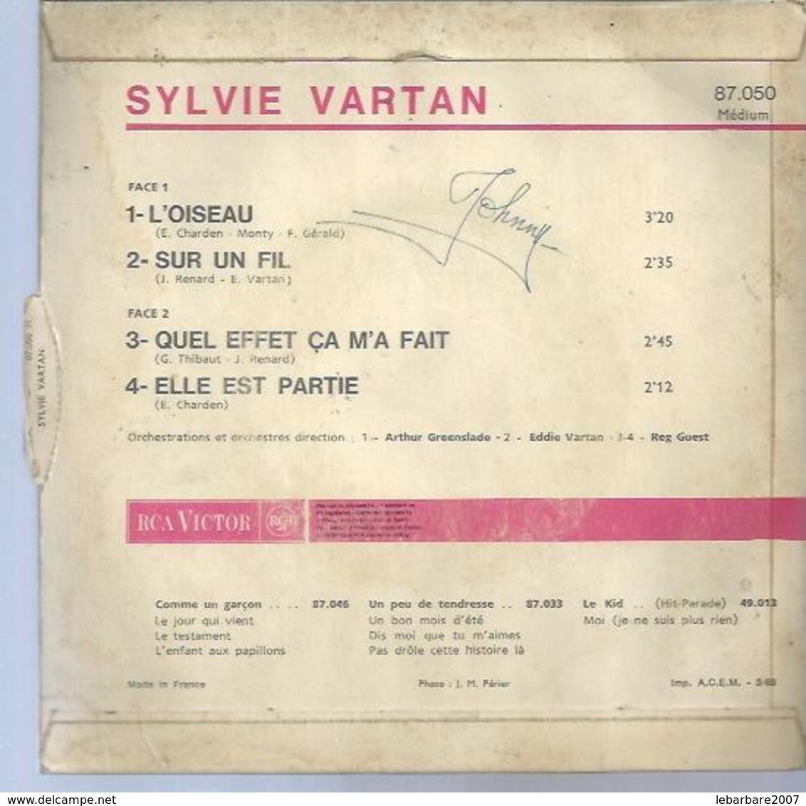"""45 Tours EP -  SYLVIE VARTAN - RCA 87050 -  """" L'OISEAU """" + 3  ( Avec Languette ) - Vinyl Records"""