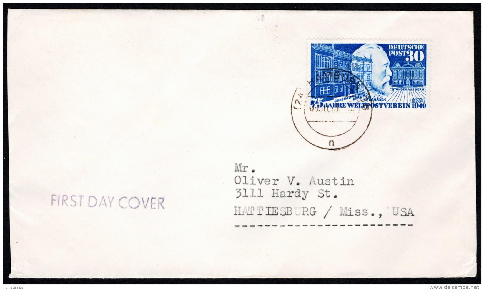 GER SC #669 (Mi 116) 1949 75th Anniversary Of UPU FDC 10-09-1949 MCV E1400 (I) - [7] Federal Republic
