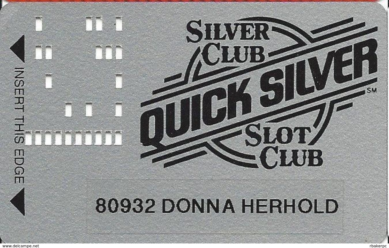 Silver Club Casino - Sparks NV -  Slot Card - White Reverse, PPC, Patent Pending With Printed Name - Casino Cards