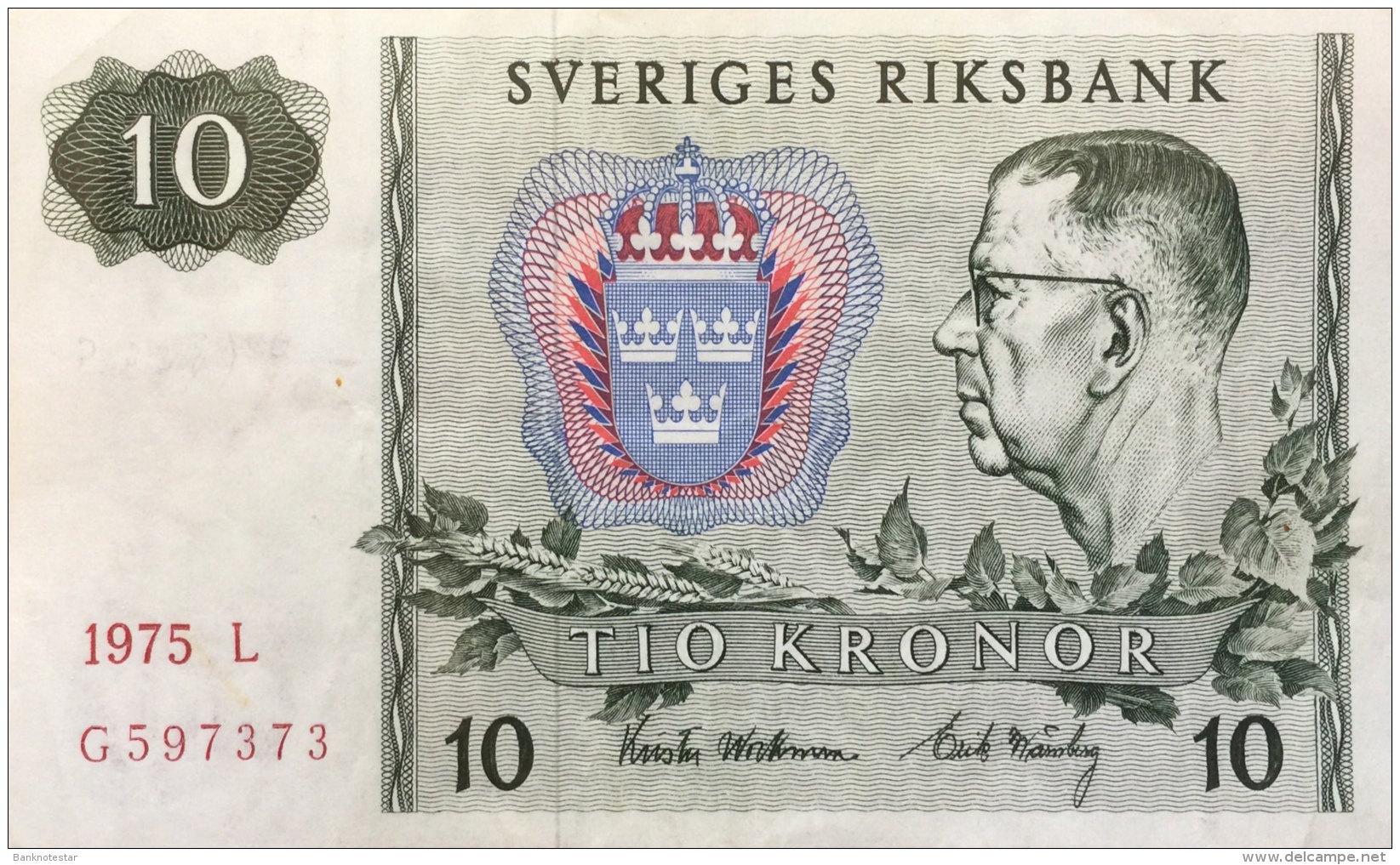 Sweden 10 Kronor, P-52c (1975) Very Fine - Schweden
