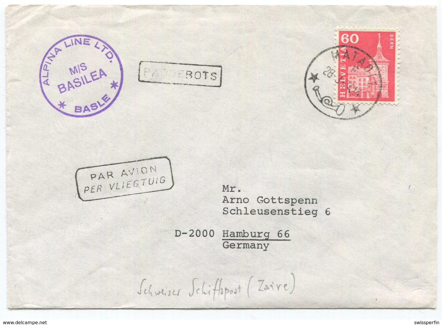 1948 - ALPINA LINE LTD. M/S BASILEA, BASLE PAQUEBOTS / Schweizer Schiffspoststempel - Marcophilie