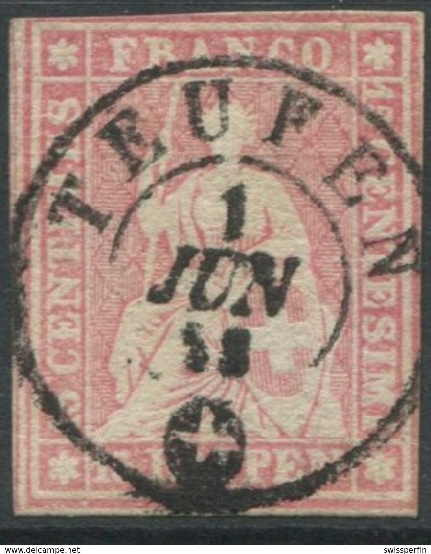 1950 - Vollstempel TEUFEN 1 JUN 58 Auf 15 Rp. Strubel - Heimat APPENZELL - 1854-1862 Helvetia (Non-dentelés)