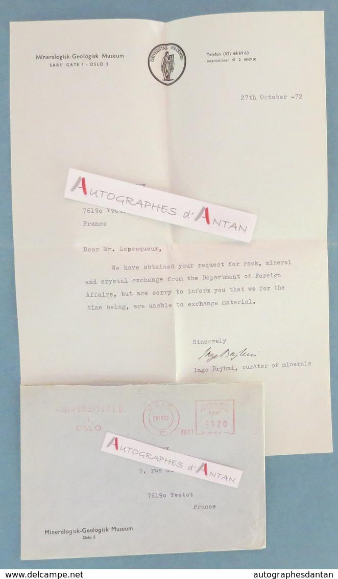 Inge BRYHNI 1972 - Géologue - Mineralogisk Geologisk Museum - OSLO Norvege Norge Norway - Minerals - Letter Geolog - Autographes