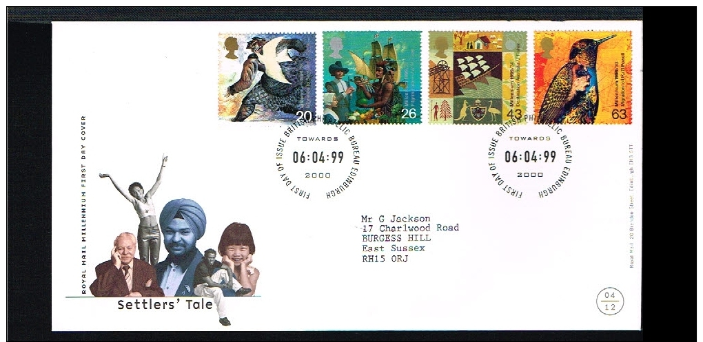 1999 - Great Britain FDC - Cultures - Migration - Settlers' Tale [A99_125] - FDC