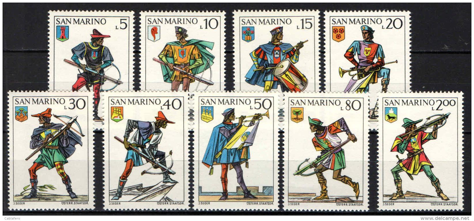 SAN MARINO - 1973 - SERIE BALESTIERI E STEMMI -  MNH - Neufs