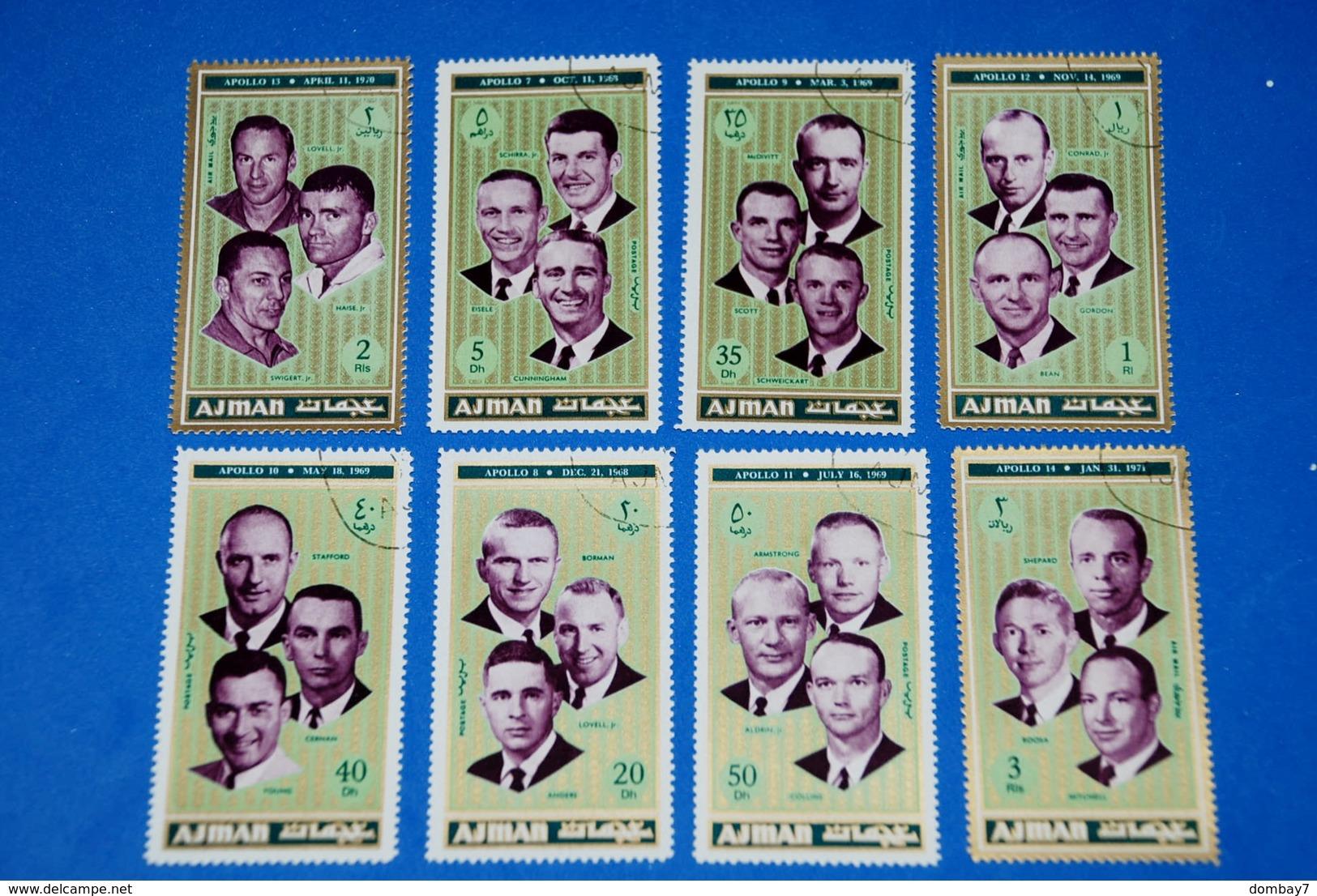 Space - Flight Crews Apollo 7-14 Astronauts Complete Set Of 8 - Ruimtevaart