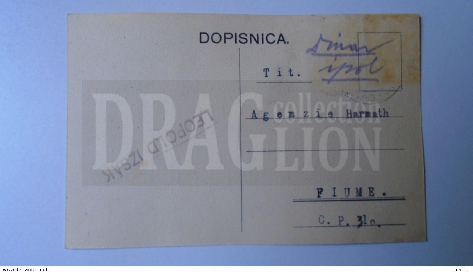 D159879   Commercial Postcard - Leopold IZSAK -Nova Gradiska (Slavonija)    - Sent To Agenzia Harmath  FIUME  1926 - Italia