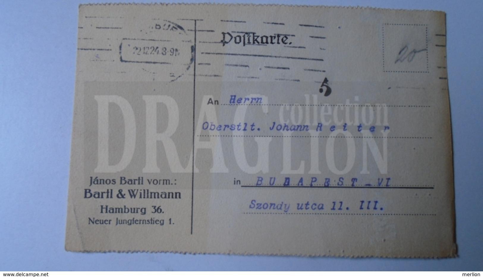 D159891  Commercial Postcard - Bartl & Willmann - HAMBURG  - Sent To    1924 Oberst Johann Reiter  Budapest - Italia