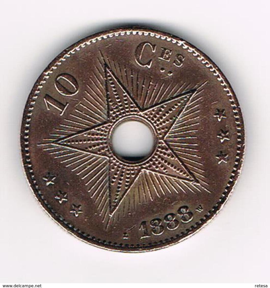 -& LEOPOLD II ROI DES BELGES SOUV. DE L'IDEP.DU CONGO 10 CENTIMES  1888 - Congo (Belgian) & Ruanda-Urundi