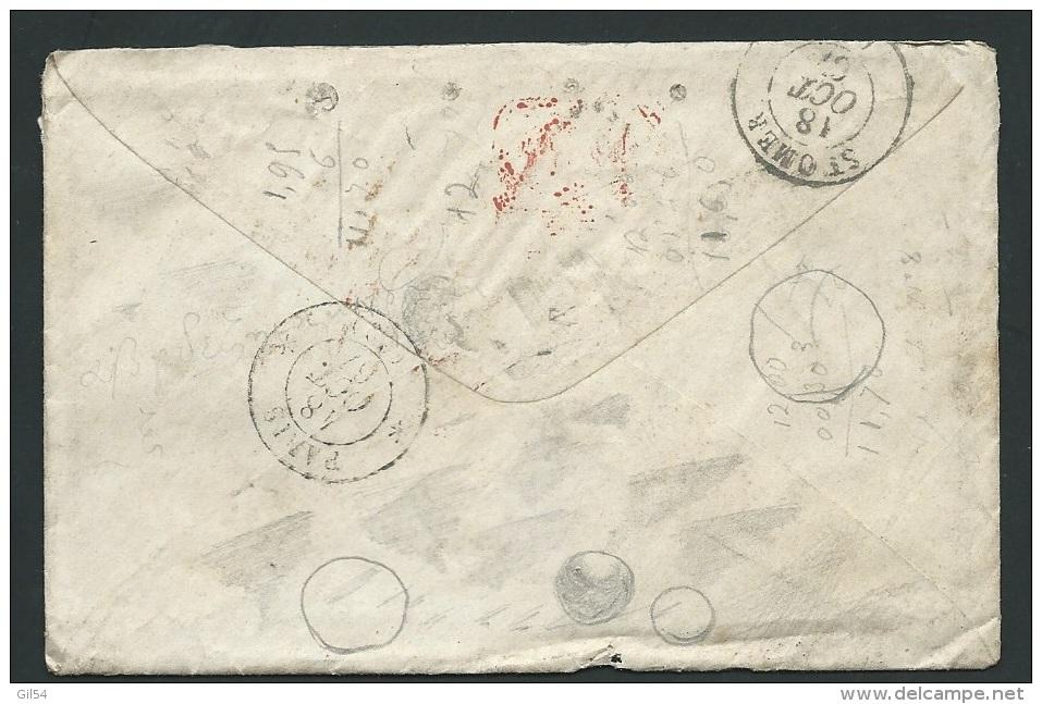 Portugal Yvert N° 23 ( 80 C R Orange ) Sur Lac De Lisbonne Pour Saint Omer , Octobre 1867  -   Pb16501 - 1862-1884 : D.Luiz I