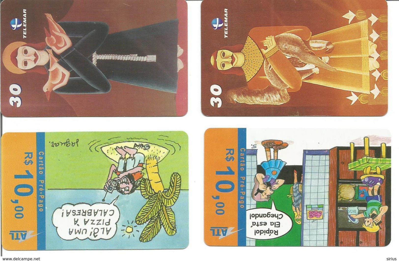 """Lot De 4 Télécartes Du BRESIL - Séries """"Cartunistas"""" Et """"Sacrossanto"""" - Brésil"""