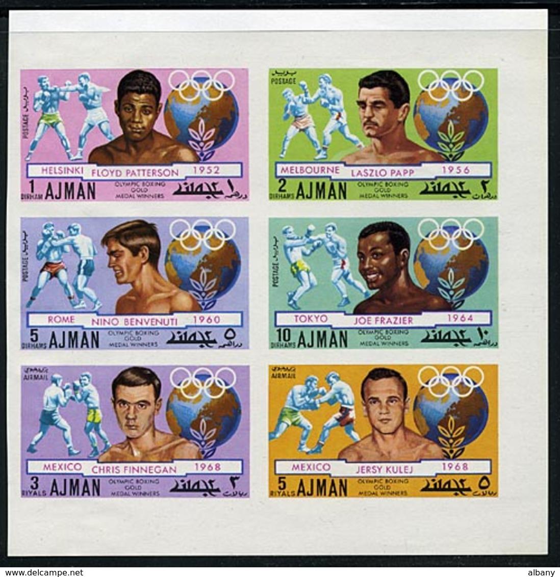 Ajman 1054-1059 Imperf Olympic Boxing, Neuf** Sans Charniere, Mint NH, Minkus 1144-1149 - Ajman