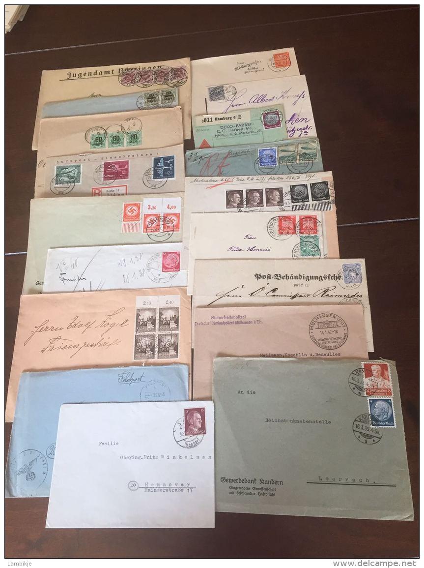 Sammlung 100 Briefe Und Postkarten Mit Propaganda Deutsches Reich - Timbres