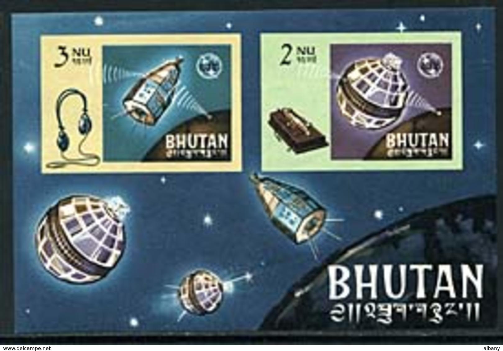 Bhutan Bl 4 Imperf Telstar, ITU, Neuf** Sans Charniere, Mint NH, Scott 55a - Bhutan