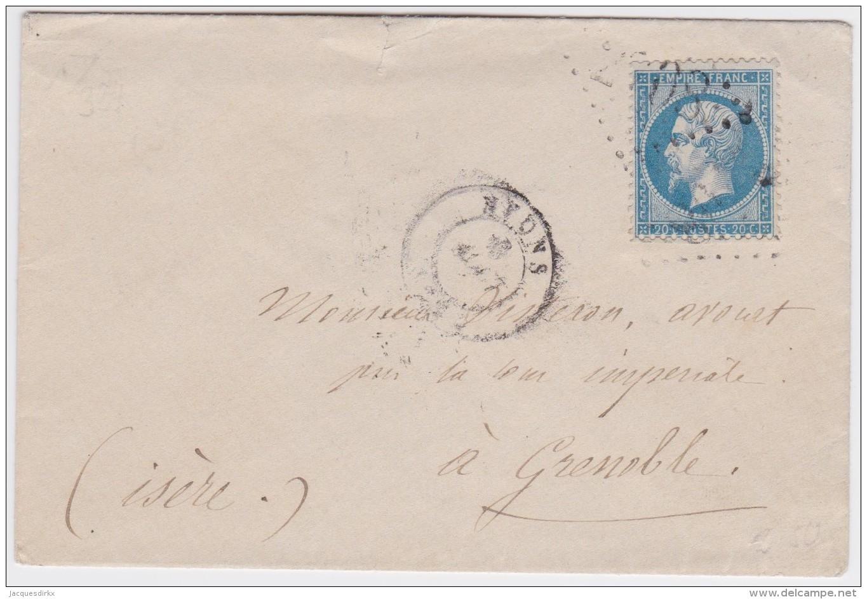 France   .  Yvert   .  22  Sur  Lettre    .        O      .   Oblitéré  .   /   .   Cancelled - 1862 Napoleon III
