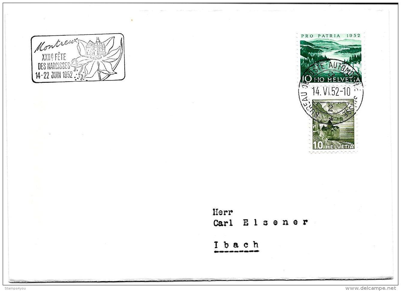"""125 - 26 - Enveloppe Avec Oblit Spéciale """"Montreux Fete Des Narcisses 1952"""" - Poststempel"""