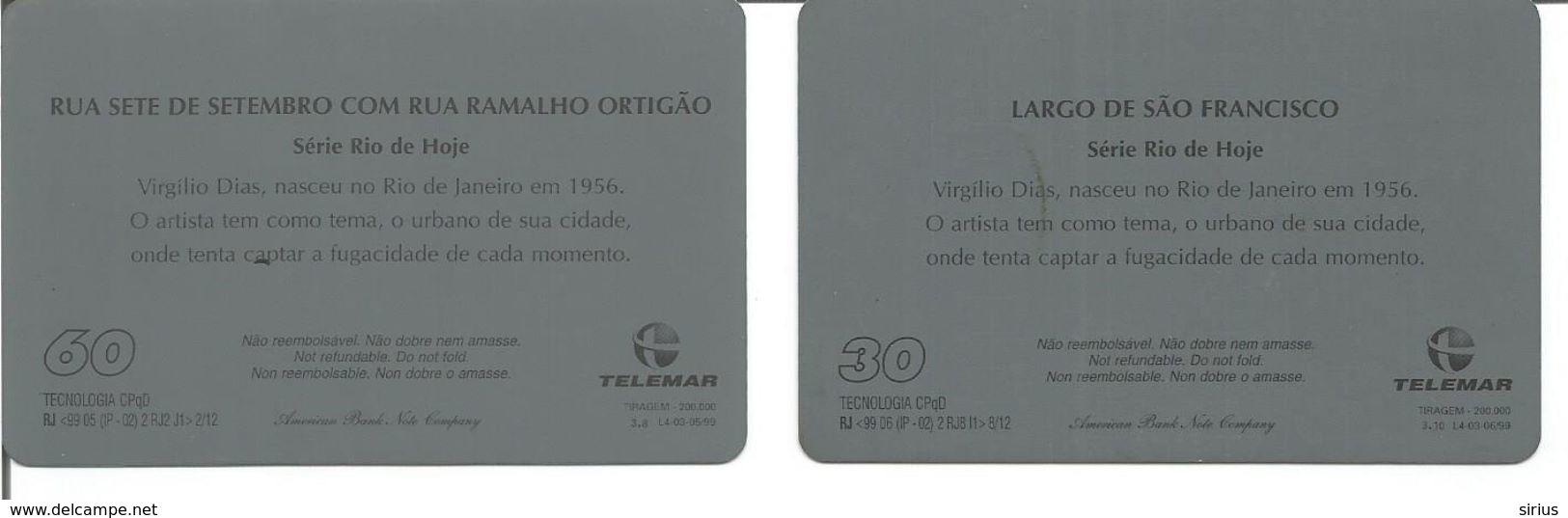 """Lot De 2 Télécartes Du BRESIL - Série """" RIO DE HOJE """" - Brésil"""