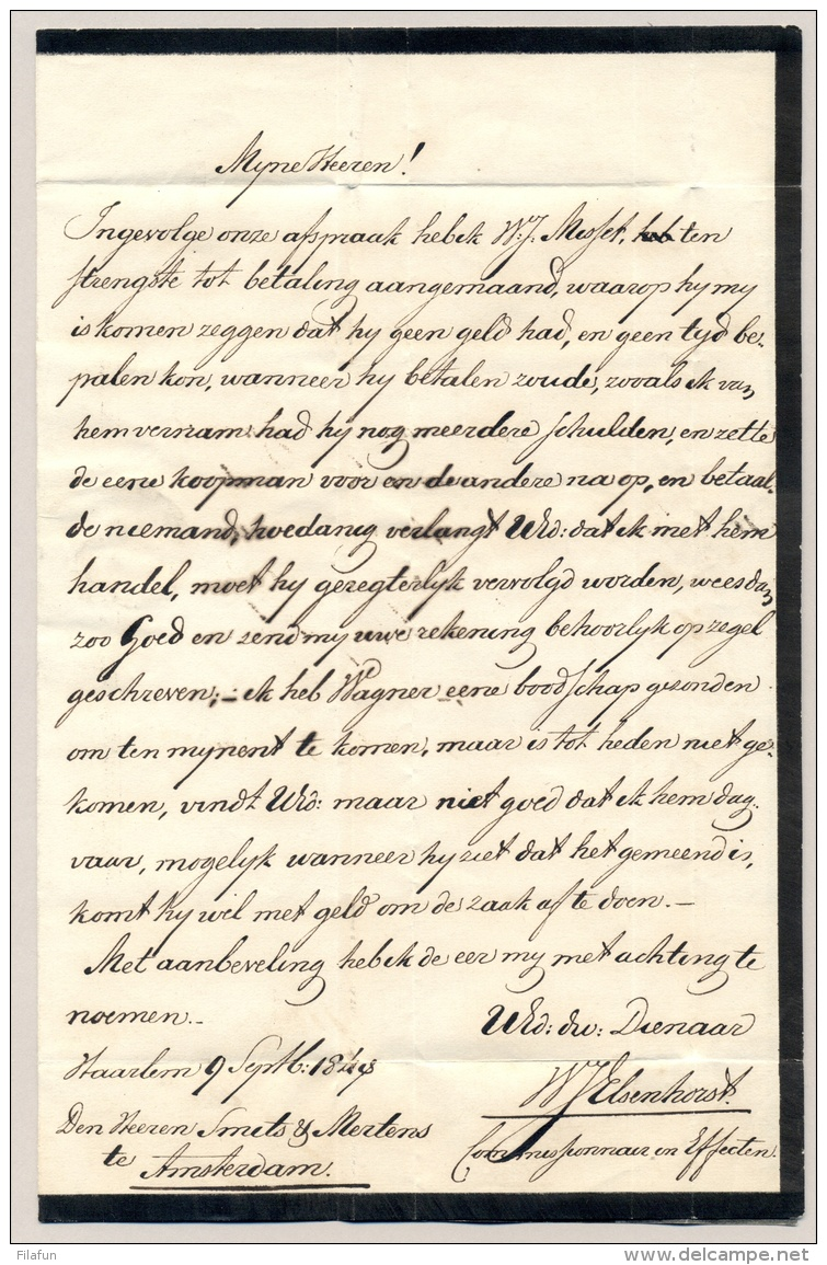 Nederland - 1848 - Complete Vouwbrief Met EXPEDITIE C. VAN DER HORST Van Haarlem Naar Amsterdam - Nederland