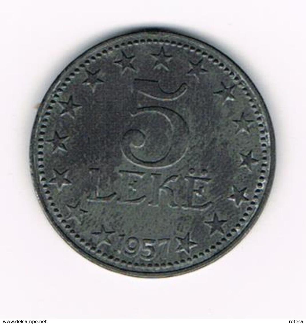 -&   ALBANIE  5  LEKE  1957 - Albania