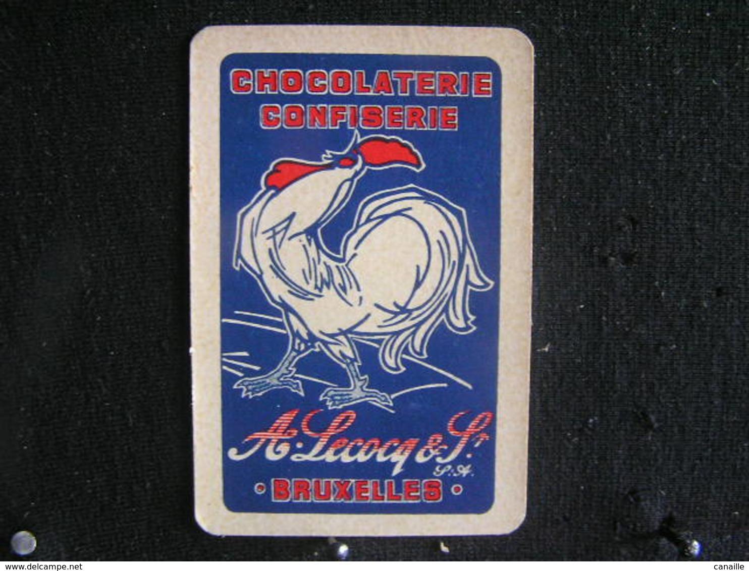 Playing Cards /Carte A Jouer/1 Dos De Cartes,Inscription  Publicitaire/Chocolaterie Confiserie, A.Lecocq & S - Bruxelles - Ohne Zuordnung