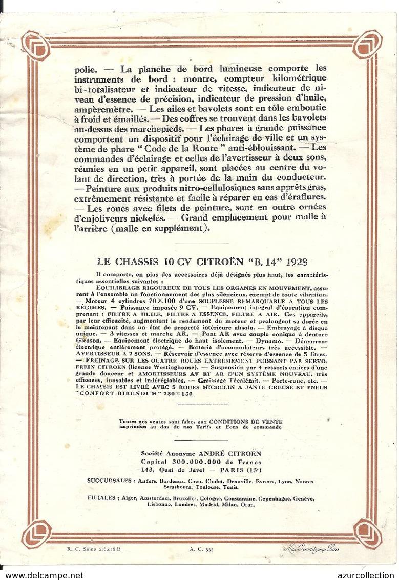 10 CV CITROEN 1928 - Publicités