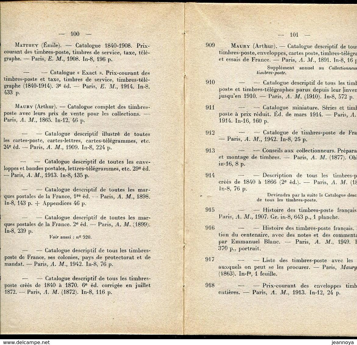 BLANC E. - BIBLIOGRAPHIE FRANCAISES DES POSTES & DE LA PHILATELIE - RELIE TOILE DE 170 PAGES DE 1949 - TB - Bibliografie