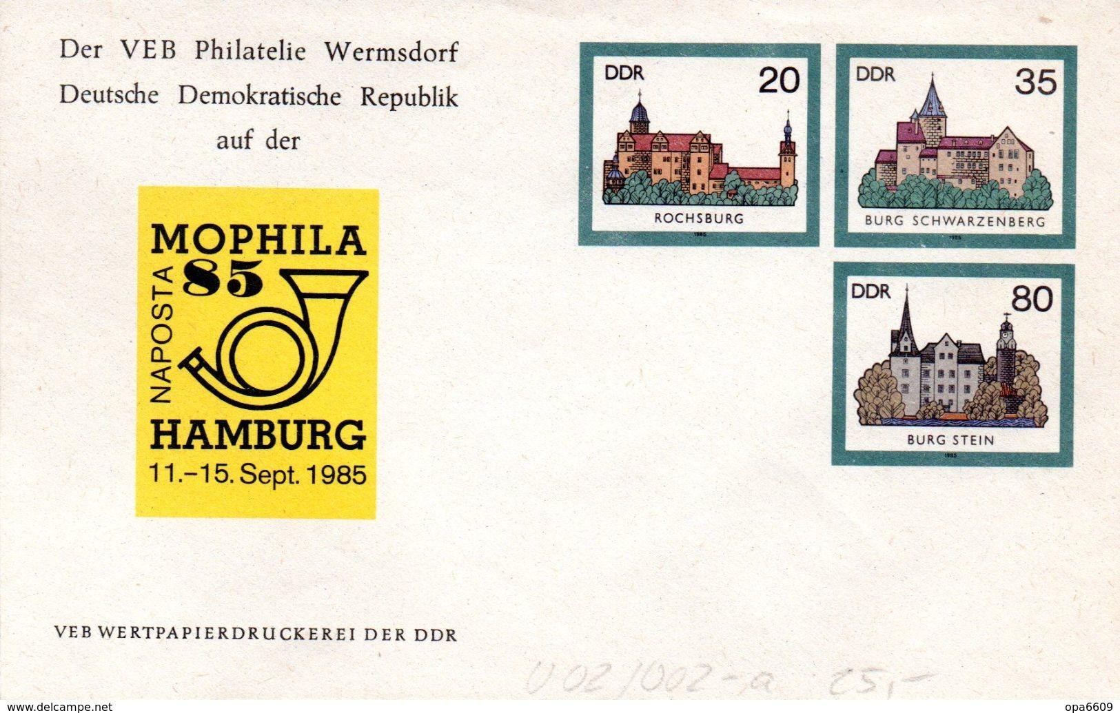 """(FC5) DDR Privatganzs.-Umschlag  PU U02/002-a""""Burgen Und Schlösser M.ZD Zur NAPOSTA MOPHILA'85"""" Ungebraucht - [6] Democratic Republic"""
