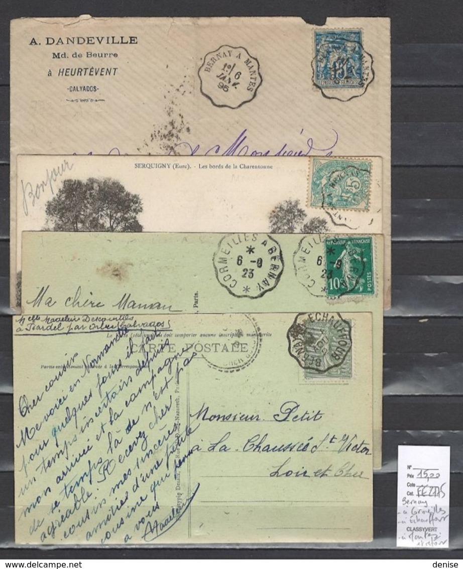 Lettre Avec Cachet Convoyeur Bernay à Cormeilles - à Echauffour - à Mantes Et Retour  - 4 Piéces - Railway Post