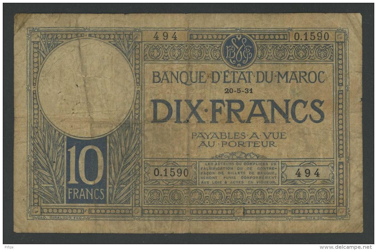(Maroc) 10 Francs 1931 . Rare . - Maroc