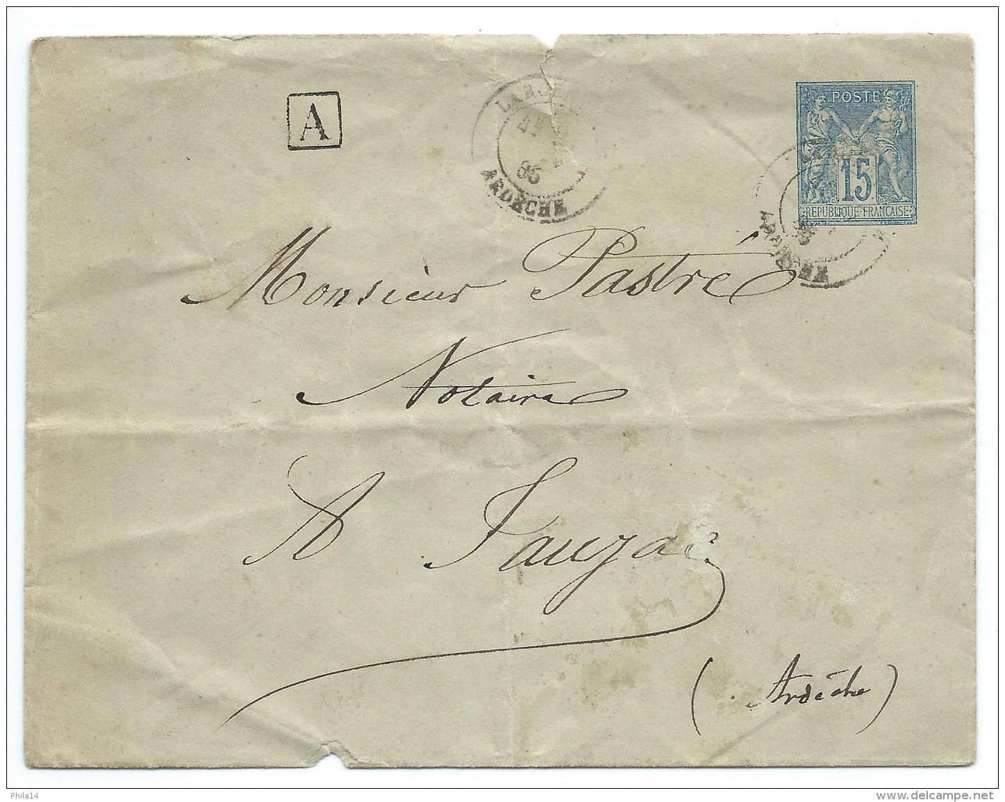 ENVELOPPE SAGE 15c   / 1885 / POUR JAUJAC ARDECHE - Marcophilie (Lettres)