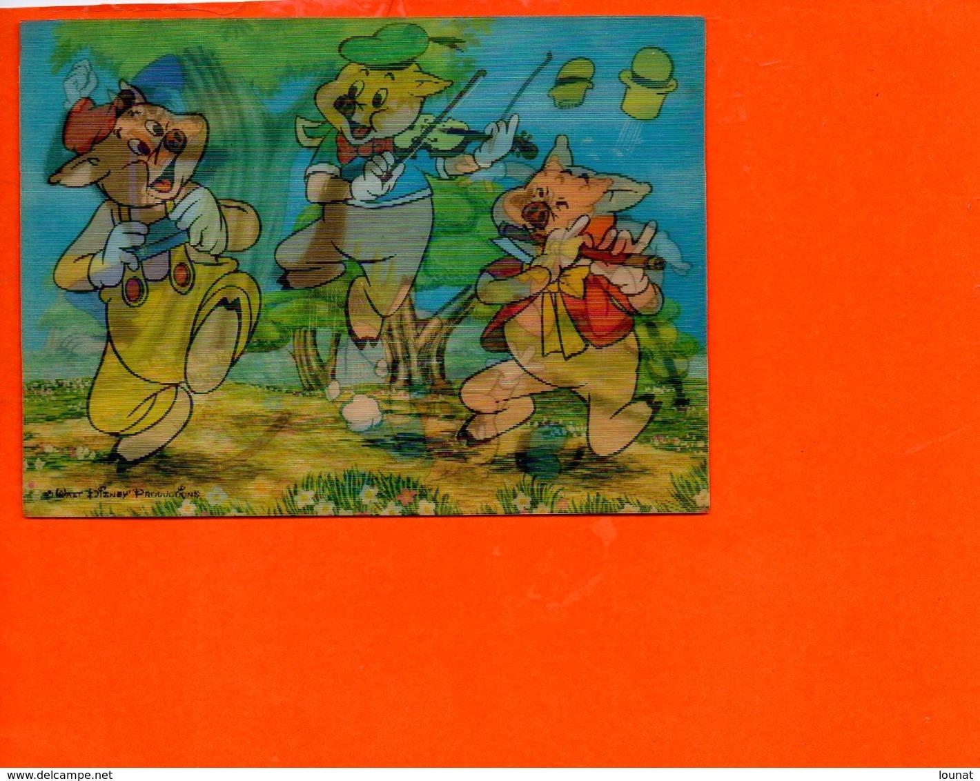 Walt DISNEY Productions En 3D - Vision Relief - Les 3 Petits Cochons Et Le Loup - Fantaisise - Carte à Système) - Cartes Postales