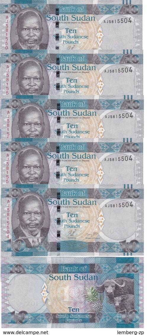 South Sudan - 5 Pcs X 10 Pounds 2011 UNC Lemberg-Zp - Soudan