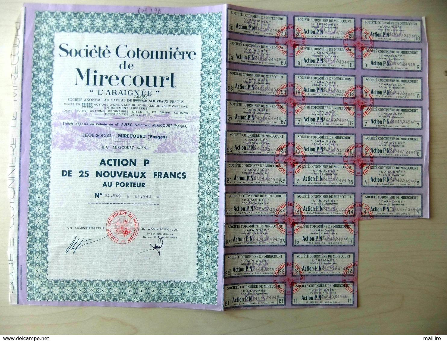 """Action P De 25 Nouveaux Francs - Société Cotonnière De Mirecourt """"L'Araignée"""" - Textile"""