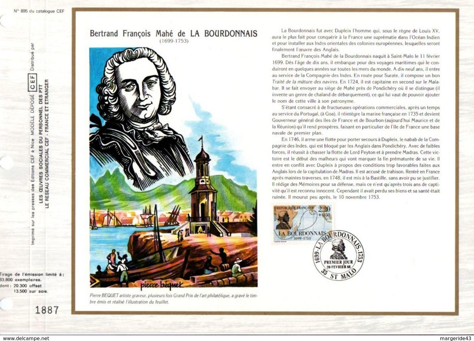 1988 DOCUMENT FDC NAVIGATEURS - LA BOURDONNAIS - 1980-1989